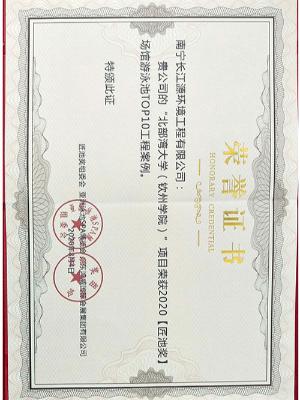 南宁长江源2020【匠池奖】证书